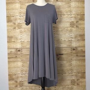 LuLaRoe Dresses - LULAROE CARLY HIGH LOW DRESS SS GRAY SIZE SMALL